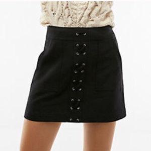 NWOT Express Black Lace Up Patch Pocket Skirt